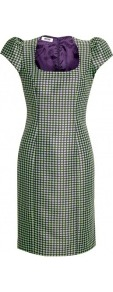 Cap Sleeve Fitted Jacquard Dress - style: shift; sleeve style: puffed; fit: tailored/fitted; secondary colour: navy; predominant colour: emerald green; occasions: evening, occasion; length: on the knee; fibres: polyester/polyamide - 100%; hip detail: sculpting darts/pleats/seams at hip; sleeve length: short sleeve; trends: statement prints; neckline: medium square neck; pattern type: fabric; pattern size: small & busy; pattern: patterned/print; texture group: brocade/jacquard