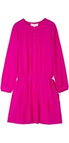 Drop Waist Tunic Dress - fit: loose; pattern: plain; style: blouson; waist detail: elasticated waist; bust detail: buttons at bust (in middle at breastbone)/zip detail at bust; predominant colour: hot pink; occasions: casual, evening; length: just above the knee; fibres: silk - 100%; neckline: crew; sleeve length: long sleeve; sleeve style: standard; texture group: silky - light; trends: fluorescent; pattern type: fabric