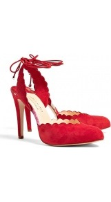 Tala Scalloped Edge Heeled Shoes - predominant colour: true red; occasions: evening; material: suede; heel height: high; ankle detail: ankle tie; heel: stiletto; toe: round toe; style: courts; finish: plain; pattern: plain