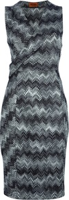 Zig Zag Dress - style: faux wrap/wrap; neckline: v-neck; sleeve style: sleeveless; predominant colour: charcoal; secondary colour: light grey; occasions: evening, work, occasion; length: on the knee; fit: body skimming; sleeve length: sleeveless; texture group: knits/crochet; pattern type: knitted - fine stitch; pattern size: standard; pattern: patterned/print; fibres: viscose/rayon - mix