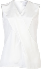 Cross Front Top - neckline: v-neck; pattern: plain; sleeve style: sleeveless; style: wrap/faux wrap; bust detail: ruching/gathering/draping/layers/pintuck pleats at bust; predominant colour: white; occasions: casual, evening, work; length: standard; fibres: silk - 100%; fit: straight cut; sleeve length: sleeveless; texture group: silky - light; pattern type: fabric; pattern size: standard