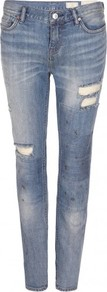 Patch Casey Jeans - style: straight leg; pattern: plain; waist: low rise; pocket detail: traditional 5 pocket; predominant colour: denim; occasions: casual; length: ankle length; fibres: cotton - stretch; jeans detail: whiskering, washed/faded; texture group: denim; pattern type: fabric; pattern size: standard