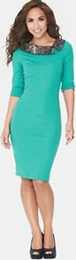 Python Collar Dress, Green - fit: tight; pattern: plain; style: bodycon; predominant colour: emerald green; occasions: evening, work; length: on the knee; neckline: collarstand; fibres: polyester/polyamide - stretch; sleeve length: 3/4 length; sleeve style: standard; trends: glamorous day shifts; pattern type: fabric; texture group: other - stretchy