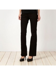 Shape Enhancing Black Bootcut Jeans - style: bootcut; pattern: plain; pocket detail: traditional 5 pocket; length: extra long; waist: mid/regular rise; predominant colour: black; occasions: casual, evening; fibres: cotton - stretch; texture group: denim; pattern type: fabric