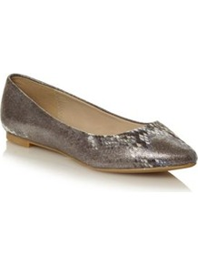 Silver Faux Snakeskin Pointed Toe Pumps - predominant colour: silver; occasions: casual, work; material: faux leather; heel height: flat; toe: pointed toe; style: ballerinas / pumps; finish: plain; pattern: animal print