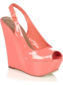Coral Gael High Wedge Platform Court Shoes - predominant colour: coral; occasions: casual, evening, work, occasion, holiday; material: faux leather; heel height: high; embellishment: buckles; heel: wedge; toe: open toe/peeptoe; style: slingbacks; trends: fluorescent; finish: patent; pattern: plain