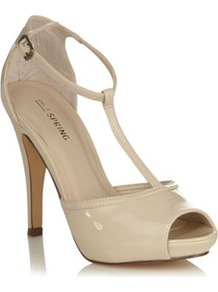 Cream Leatherette T Bar High Heel Peep Toe Rehder Court Shoe - predominant colour: ivory; occasions: evening, work, occasion; material: faux leather; heel height: high; embellishment: buckles; ankle detail: ankle strap; heel: stiletto; toe: open toe/peeptoe; style: t-bar; finish: patent; pattern: plain