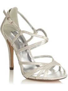 Silver High Heeled Open Toed Metallic Sandals - predominant colour: silver; occasions: evening, occasion; material: faux leather; heel height: high; embellishment: buckles; ankle detail: ankle strap; heel: stiletto; toe: open toe/peeptoe; style: strappy; trends: metallics; finish: metallic; pattern: plain