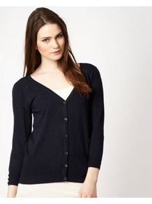 Navy Blue V Neckline Cardigan - neckline: v-neck; pattern: plain; predominant colour: navy; occasions: casual, work; length: standard; style: standard; fit: standard fit; sleeve length: 3/4 length; sleeve style: standard; texture group: knits/crochet; pattern type: knitted - fine stitch; fibres: viscose/rayon - mix