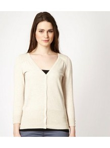 Beige V Neck Cardigan - neckline: v-neck; pattern: plain; predominant colour: ivory; occasions: casual, work; length: standard; style: standard; fit: standard fit; sleeve length: 3/4 length; sleeve style: standard; texture group: knits/crochet; pattern type: knitted - fine stitch; fibres: viscose/rayon - mix