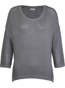 Tape Scoop Neck Jumper - neckline: round neck; style: standard; predominant colour: mid grey; occasions: casual, work; length: standard; fibres: acrylic - 100%; fit: loose; sleeve length: 3/4 length; sleeve style: standard; texture group: knits/crochet; pattern type: knitted - other