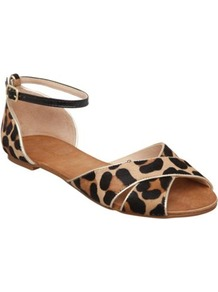 Leopard Jupiter D Animal Print Pony Flat Sandal - secondary colour: tan; predominant colour: black; occasions: casual, holiday; material: animal skin; heel height: flat; ankle detail: ankle strap; heel: standard; toe: open toe/peeptoe; style: standard; trends: statement prints; finish: plain; pattern: animal print
