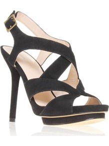 Bymyside - predominant colour: black; occasions: evening, work, occasion; material: suede; heel height: high; ankle detail: ankle strap; heel: platform; toe: open toe/peeptoe; style: strappy; finish: plain; pattern: plain