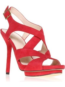 Bymyside - predominant colour: true red; occasions: evening, work, occasion; material: suede; heel height: high; ankle detail: ankle strap; heel: platform; toe: open toe/peeptoe; style: strappy; finish: plain; pattern: plain