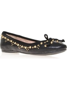 Molten - predominant colour: black; occasions: casual, evening, work; material: faux leather; heel height: flat; embellishment: studs; toe: round toe; style: ballerinas / pumps; finish: plain; pattern: plain
