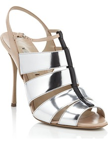 Mich Slingback Heel - secondary colour: nude; predominant colour: silver; occasions: evening, occasion; material: leather; ankle detail: ankle strap; heel: stiletto; toe: open toe/peeptoe; style: strappy; trends: metallics; finish: metallic; pattern: colourblock; heel height: very high