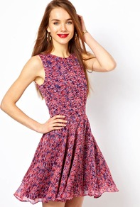 Skater Dress In Sundance Print - length: mini; sleeve style: sleeveless; waist detail: fitted waist; occasions: casual, evening, holiday; fit: fitted at waist & bust; style: fit & flare; fibres: polyester/polyamide - 100%; neckline: crew; hip detail: soft pleats at hip/draping at hip/flared at hip; predominant colour: multicoloured; sleeve length: sleeveless; texture group: sheer fabrics/chiffon/organza etc.; trends: volume; pattern type: fabric; pattern size: small & busy; pattern: patterned/print
