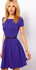 Skater Dress With Slash Neck And Short Sleeves - neckline: round neck; sleeve style: capped; pattern: plain; waist detail: belted waist/tie at waist/drawstring; predominant colour: royal blue; occasions: casual, work; length: just above the knee; fit: fitted at waist & bust; style: fit & flare; fibres: cotton - stretch; hip detail: soft pleats at hip/draping at hip/flared at hip; sleeve length: short sleeve; pattern type: fabric; texture group: jersey - stretchy/drapey