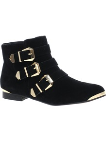 Flojoey Buckled Ankle Boots - predominant colour: black; occasions: casual, evening, work; material: suede; heel height: flat; embellishment: buckles; heel: standard; toe: round toe; boot length: ankle boot; style: standard; finish: plain; pattern: plain