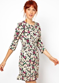 Floral Dress With Gathered Waist And Collar - style: shift; neckline: round neck; occasions: casual, evening; length: just above the knee; fit: body skimming; fibres: viscose/rayon - 100%; predominant colour: multicoloured; sleeve length: 3/4 length; sleeve style: standard; texture group: cotton feel fabrics; trends: high impact florals; pattern type: fabric; pattern size: standard; pattern: florals
