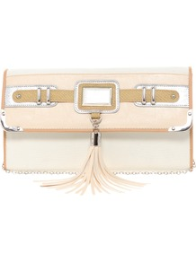 Tassel Front Clutch Bag - predominant colour: ivory; occasions: casual, evening, occasion; type of pattern: standard; style: clutch; length: hand carry; size: small; material: faux leather; embellishment: tassels; finish: plain; pattern: colourblock