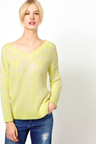 Neon Ribbed Reversible Chunky Knit - neckline: low v-neck; style: standard; predominant colour: primrose yellow; occasions: casual; length: standard; fibres: cotton - mix; fit: standard fit; hip detail: contrast fabric/print detail at hip; sleeve length: long sleeve; sleeve style: standard; texture group: knits/crochet; trends: fluorescent; pattern type: knitted - other; pattern size: small & light