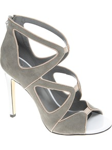 Hazard Heeled Sandals - predominant colour: mid grey; occasions: evening, work, occasion; material: faux leather; heel height: high; embellishment: zips; ankle detail: ankle strap; heel: stiletto; toe: open toe/peeptoe; style: strappy; trends: metallics; finish: plain; pattern: plain