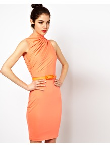 Lonny Midi Dress With Twisted High Neck And Belt - fit: tight; pattern: plain; sleeve style: sleeveless; neckline: high neck; style: bodycon; waist detail: belted waist/tie at waist/drawstring; bust detail: ruching/gathering/draping/layers/pintuck pleats at bust; predominant colour: coral; occasions: casual, evening, occasion; length: just above the knee; fibres: polyester/polyamide - stretch; sleeve length: sleeveless; trends: fluorescent; pattern type: fabric; texture group: jersey - stretchy/drapey