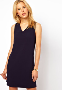Shift Dress With V Neck - style: shift; length: mid thigh; neckline: v-neck; pattern: plain; sleeve style: sleeveless; predominant colour: navy; occasions: casual, evening; fit: body skimming; fibres: polyester/polyamide - stretch; sleeve length: sleeveless; texture group: crepes; trends: glamorous day shifts; pattern type: fabric