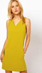 Shift Dress With V Neck - style: shift; neckline: low v-neck; pattern: plain; sleeve style: sleeveless; hip detail: side pockets at hip; predominant colour: mustard; occasions: casual, evening, work, holiday; length: just above the knee; fit: soft a-line; fibres: polyester/polyamide - mix; sleeve length: sleeveless; trends: fluorescent; pattern type: fabric; texture group: other - light to midweight