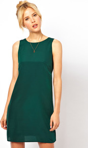 Simple Shift Dress - style: shift; length: mini; neckline: round neck; fit: tailored/fitted; pattern: plain; sleeve style: sleeveless; predominant colour: dark green; occasions: evening, work; fibres: polyester/polyamide - 100%; back detail: keyhole/peephole detail at back; sleeve length: sleeveless; trends: glamorous day shifts; pattern type: fabric; texture group: other - light to midweight