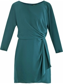 Jazlynn Silk Dress - style: shift; neckline: slash/boat neckline; fit: fitted at waist; pattern: plain; waist detail: twist front waist detail/nipped in at waist on one side/soft pleats/draping/ruching/gathering waist detail; predominant colour: dark green; occasions: evening, occasion, holiday; length: just above the knee; fibres: silk - 100%; hip detail: ruching/gathering at hip; back detail: keyhole/peephole detail at back; sleeve length: long sleeve; sleeve style: standard; texture group: silky - light; pattern type: fabric