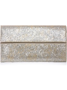 Glitter Clutch - predominant colour: silver; occasions: evening, occasion; style: clutch; length: hand carry; size: small; material: fabric; embellishment: glitter; pattern: plain; trends: metallics; finish: metallic