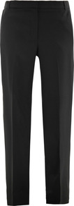 Cain Braced Trousers - length: standard; pattern: plain; waist: mid/regular rise; predominant colour: black; occasions: casual, evening, work; fibres: wool - stretch; waist detail: narrow waistband; fit: straight leg; pattern type: fabric; texture group: woven light midweight; style: standard