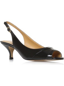 Ontherocks3 - predominant colour: black; occasions: evening, work, occasion, holiday; material: faux leather; heel height: mid; embellishment: buckles; ankle detail: ankle strap; heel: kitten; toe: open toe/peeptoe; style: slingbacks; finish: patent; pattern: plain