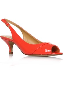 Ontherocks3 - predominant colour: bright orange; occasions: evening, work, occasion, holiday; material: faux leather; heel height: mid; embellishment: buckles; ankle detail: ankle strap; heel: kitten; toe: open toe/peeptoe; style: slingbacks; trends: fluorescent; finish: patent; pattern: plain