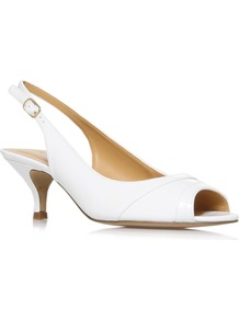 Ontherocks3 - predominant colour: white; occasions: evening, work, occasion, holiday; material: faux leather; heel height: mid; embellishment: buckles; ankle detail: ankle strap; heel: kitten; toe: open toe/peeptoe; style: slingbacks; finish: patent; pattern: plain