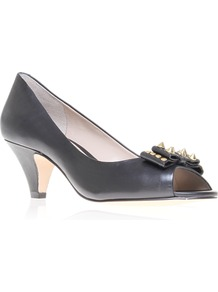 Bethany - predominant colour: black; occasions: evening, work, occasion; material: leather; heel height: mid; embellishment: studs; heel: kitten; toe: open toe/peeptoe; style: courts; finish: plain; pattern: plain