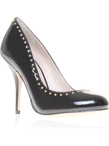 Bella - predominant colour: black; occasions: evening, work, occasion; material: leather; heel height: high; embellishment: studs; heel: stiletto; toe: round toe; style: courts; trends: metallics; finish: patent; pattern: plain