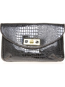 Mod Squad Clutch - predominant colour: black; occasions: evening, occasion; type of pattern: light; style: clutch; length: hand carry; size: standard; material: faux leather; pattern: animal print; finish: patent; embellishment: chain/metal