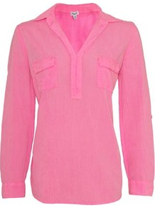 Cotton Shirt In Pink - neckline: shirt collar/peter pan/zip with opening; pattern: plain; bust detail: added detail/embellishment at bust; style: shirt; predominant colour: pink; occasions: casual, work; length: standard; fibres: cotton - 100%; fit: body skimming; sleeve length: long sleeve; sleeve style: standard; texture group: cotton feel fabrics; pattern type: fabric