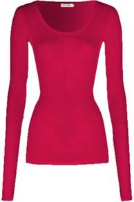 Mas04 Long Sleeve Tee In Peony - pattern: plain; predominant colour: hot pink; occasions: casual, work; length: standard; style: top; neckline: scoop; fibres: polyester/polyamide - stretch; fit: tight; sleeve length: long sleeve; sleeve style: standard; pattern type: fabric; texture group: jersey - stretchy/drapey