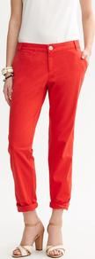 City Chino - pattern: plain; waist: low rise; predominant colour: bright orange; occasions: casual, evening, work, holiday; length: ankle length; style: chino; fibres: cotton - stretch; jeans &amp; bottoms detail: turn ups; texture group: cotton feel fabrics; fit: straight leg; pattern type: fabric