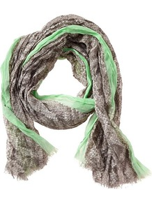 Ciara Snake Print Scarf - predominant colour: pistachio; occasions: casual, work; type of pattern: small; style: regular; size: standard; material: fabric; embellishment: fringing; pattern: animal print; trends: statement prints