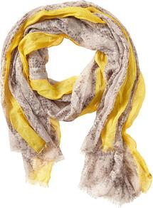 Ciara Snake Print Scarf - predominant colour: primrose yellow; occasions: casual, evening, work; type of pattern: small; style: regular; size: standard; material: fabric; pattern: animal print; trends: statement prints