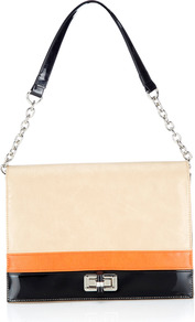 Coral Flash Shoulder Bag - predominant colour: coral; secondary colour: black; occasions: casual, evening, work; type of pattern: standard; style: shoulder; length: shoulder (tucks under arm); size: standard; material: faux leather; finish: patent; pattern: colourblock; embellishment: chain/metal