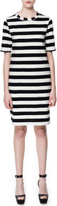 Bold Stripe Dress - style: shift; neckline: round neck; pattern: horizontal stripes; hip detail: fitted at hip; predominant colour: black; occasions: casual, evening, work; length: just above the knee; fit: body skimming; fibres: cotton - 100%; sleeve length: half sleeve; sleeve style: standard; texture group: cotton feel fabrics; trends: striking stripes, glamorous day shifts; pattern type: fabric; pattern size: big & busy