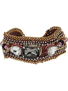 Bead Facet Rhinestone Bracelet - occasions: casual, evening, work, holiday; predominant colour: multicoloured; style: cuff; size: standard; material: chain/metal; trends: metallics; finish: metallic; embellishment: jewels