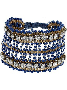 Embellished Beaded Wristband - predominant colour: navy; occasions: casual, evening, work, holiday; style: cuff; size: large/oversized; material: plastic/rubber; trends: metallics; finish: plain; embellishment: beading