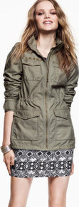Jacket - pattern: plain; style: double breasted military jacket; bust detail: added detail/embellishment at bust; length: below the bottom; hip detail: front pockets at hip; collar: high neck; predominant colour: khaki; occasions: casual; fit: tailored/fitted; fibres: cotton - 100%; waist detail: fitted waist; shoulder detail: added shoulder detail; sleeve length: long sleeve; sleeve style: standard; texture group: cotton feel fabrics; collar break: high; pattern type: fabric